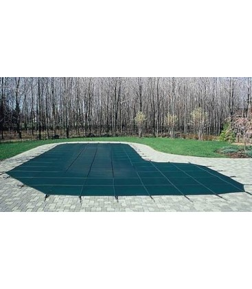 GLI 14x28 W/ 4X8 Step Secur-A-Pool Mesh Swimming Pool Safety Cover